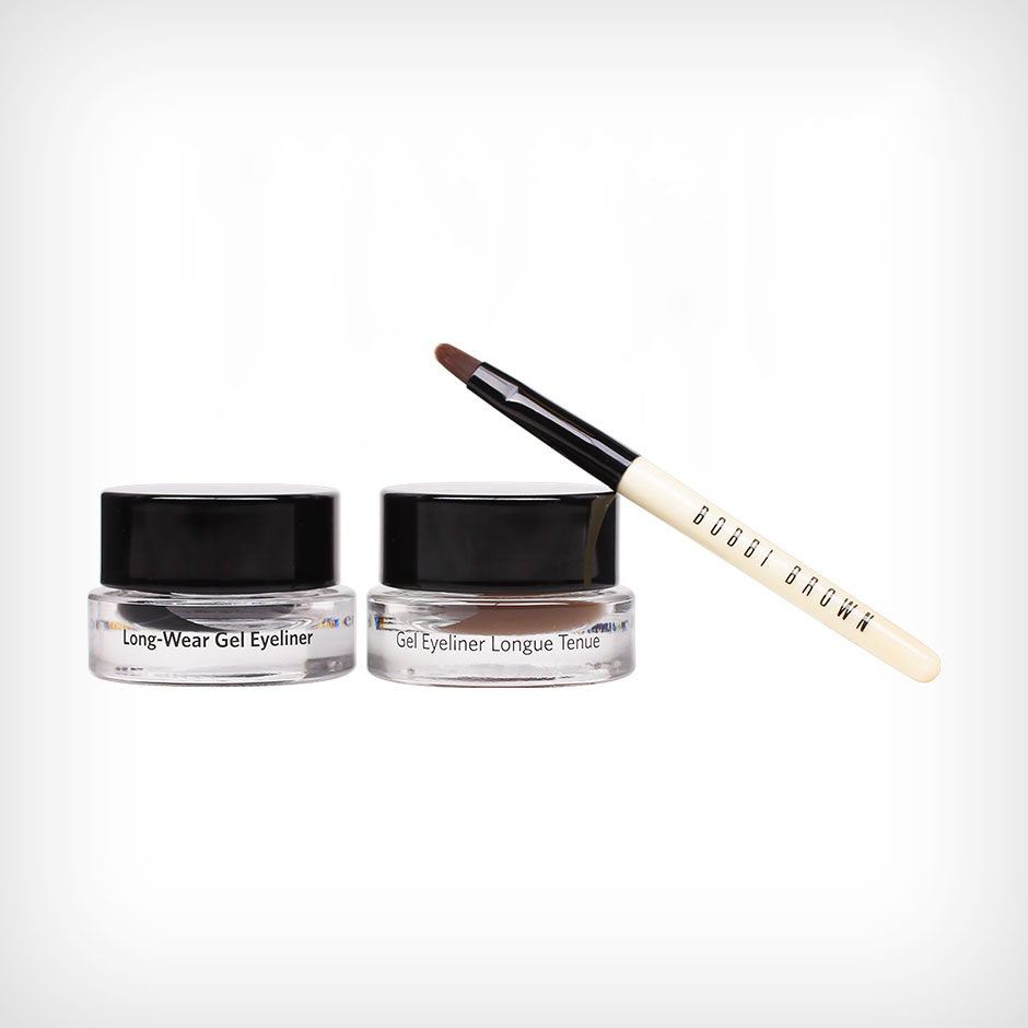 Bobbi Brown - Long-Wear Gel Eyeliner Set 2 x Eyeliners 3g, Eyeliner Brush
