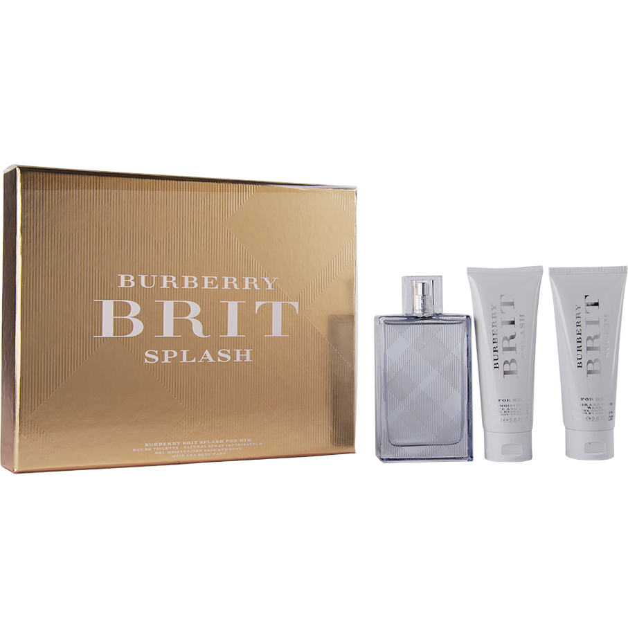 Burberry - Brit Splash For Men EdT 100ml, Moisturiser 75ml, Shower Gel 75ml