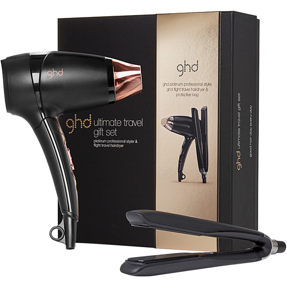 GHD - Ultimate Travel Gift Set Platinum Styler, Flight Hairdryer, Protective Bag